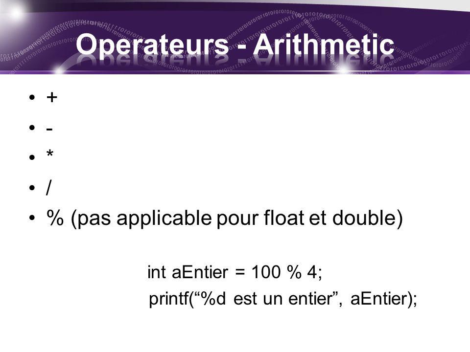+ - * / % (pas applicable pour float et double) int aEntier = 100 % 4; printf(%d est un entier, aEntier);