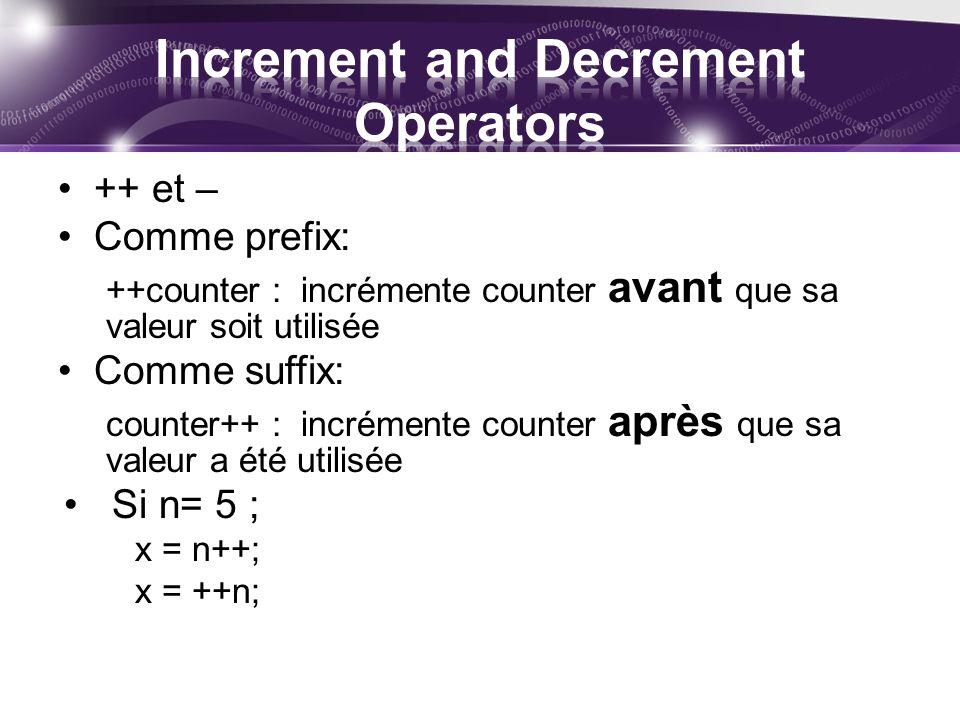 ++ et – Comme prefix: ++counter : incrémente counter avant que sa valeur soit utilisée Comme suffix: counter++ : incrémente counter après que sa valeur a été utilisée Si n= 5 ; x = n++; x = ++n;
