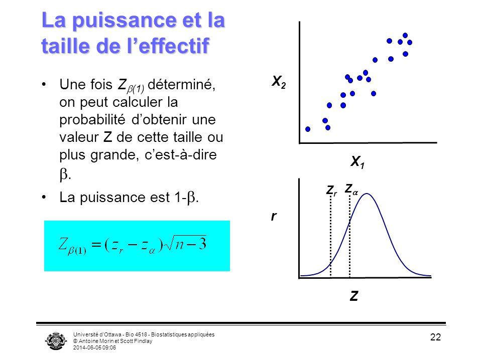 Université dOttawa - Bio 4518 - Biostatistiques appliquées © Antoine Morin et Scott Findlay 2014-06-05 09:08 22 La puissance et la taille de leffectif