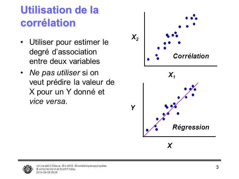 Université dOttawa - Bio 4518 - Biostatistiques appliquées © Antoine Morin et Scott Findlay 2014-06-05 09:08 14 Intervalles de confiance pour les coefficients de corrélation Lintervalle de confiance de la corrélation transformée (z) est calculée par: Convertir en unités standards par: X2X2 X2X2 X1X1 X2X2 Petit IC Grand IC