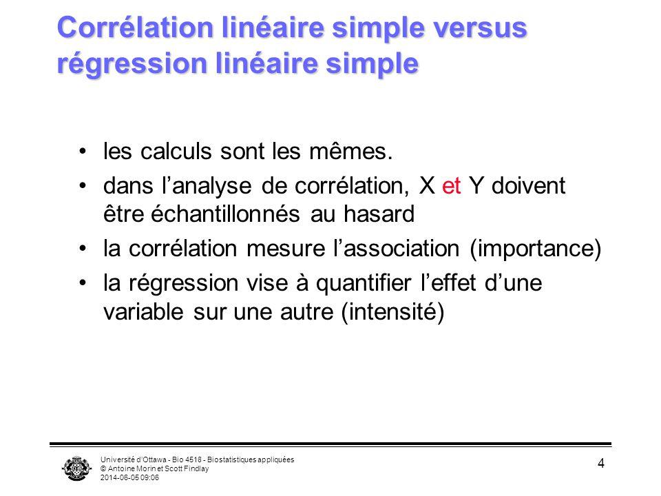 Université dOttawa - Bio 4518 - Biostatistiques appliquées © Antoine Morin et Scott Findlay 2014-06-05 09:08 5 Exemple: longueur et poids chez lesturgeon Les deux variables ne sont pas reliées (cause- effet), alors utiliser la corrélation afin de mesurer le degré dassociation entre les deux variables.