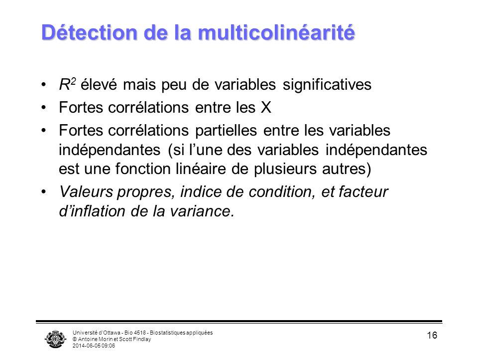 Université dOttawa - Bio 4518 - Biostatistiques appliquées © Antoine Morin et Scott Findlay 2014-06-05 09:08 16 Détection de la multicolinéarité R 2 élevé mais peu de variables significatives Fortes corrélations entre les X Fortes corrélations partielles entre les variables indépendantes (si lune des variables indépendantes est une fonction linéaire de plusieurs autres) Valeurs propres, indice de condition, et facteur dinflation de la variance.