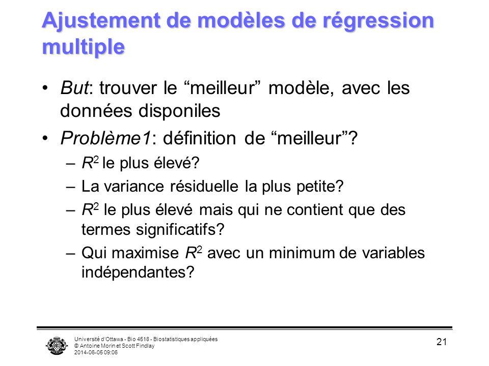 Université dOttawa - Bio 4518 - Biostatistiques appliquées © Antoine Morin et Scott Findlay 2014-06-05 09:08 21 Ajustement de modèles de régression multiple But: trouver le meilleur modèle, avec les données disponiles Problème1: définition de meilleur.