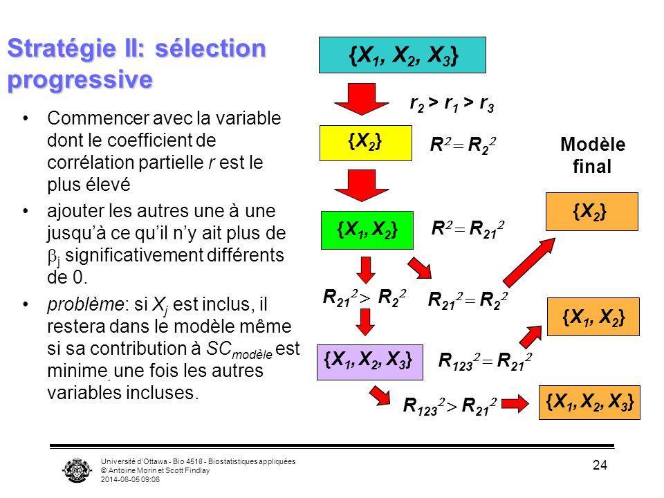 Université dOttawa - Bio 4518 - Biostatistiques appliquées © Antoine Morin et Scott Findlay 2014-06-05 09:08 24 Stratégie II: sélection progressive Commencer avec la variable dont le coefficient de corrélation partielle r est le plus élevé ajouter les autres une à une jusquà ce quil ny ait plus de j significativement différents de 0.