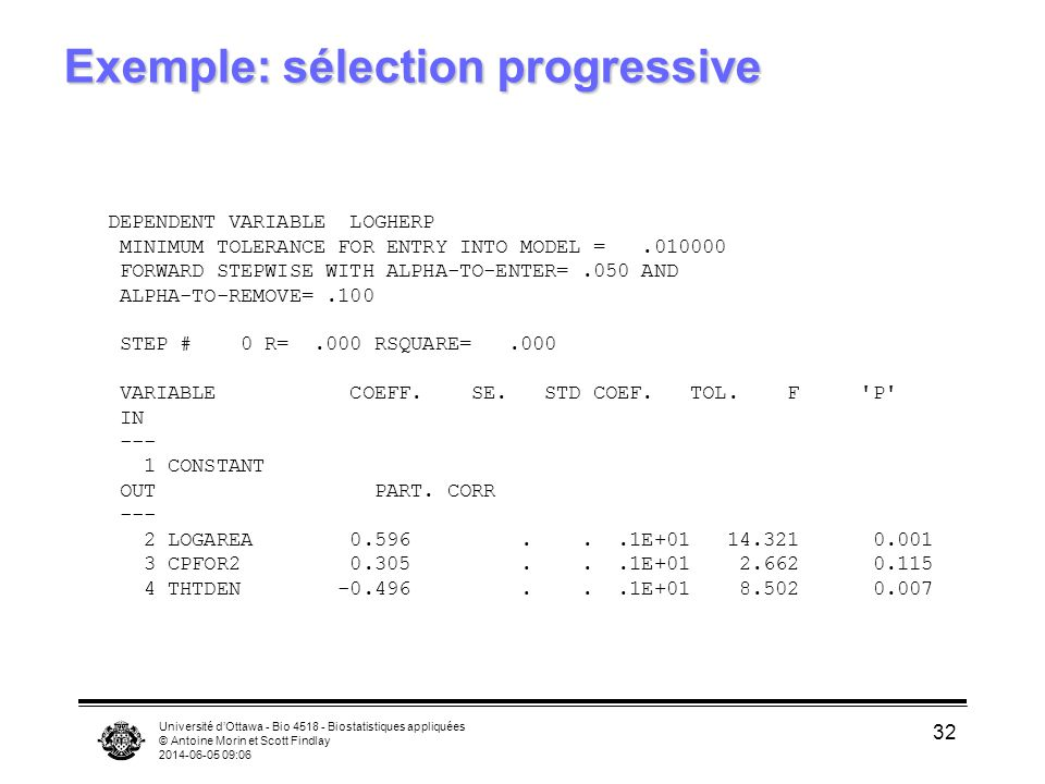 Université dOttawa - Bio 4518 - Biostatistiques appliquées © Antoine Morin et Scott Findlay 2014-06-05 09:08 32 Exemple: sélection progressive DEPENDENT VARIABLE LOGHERP MINIMUM TOLERANCE FOR ENTRY INTO MODEL =.010000 FORWARD STEPWISE WITH ALPHA-TO-ENTER=.050 AND ALPHA-TO-REMOVE=.100 STEP # 0 R=.000 RSQUARE=.000 VARIABLE COEFF.