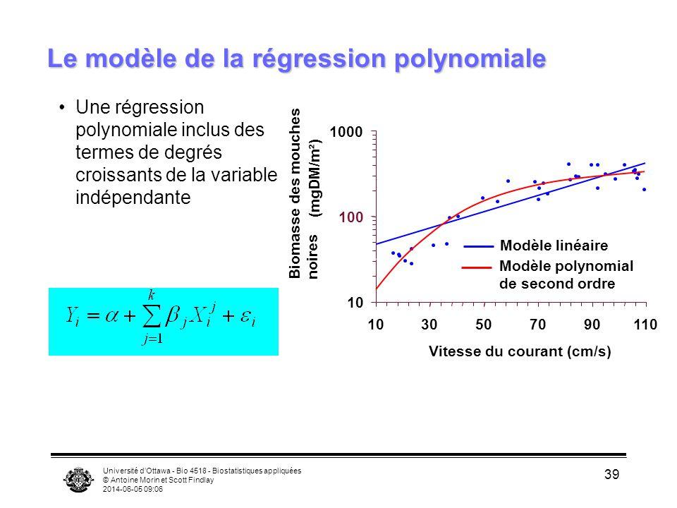 Université dOttawa - Bio 4518 - Biostatistiques appliquées © Antoine Morin et Scott Findlay 2014-06-05 09:08 39 Une régression polynomiale inclus des termes de degrés croissants de la variable indépendante Le modèle de la régression polynomiale 10 100 1000 1030507090110 Vitesse du courant (cm/s) Biomasse des mouches noires (mgDM/m²) Modèle linéaire Modèle polynomial de second ordre