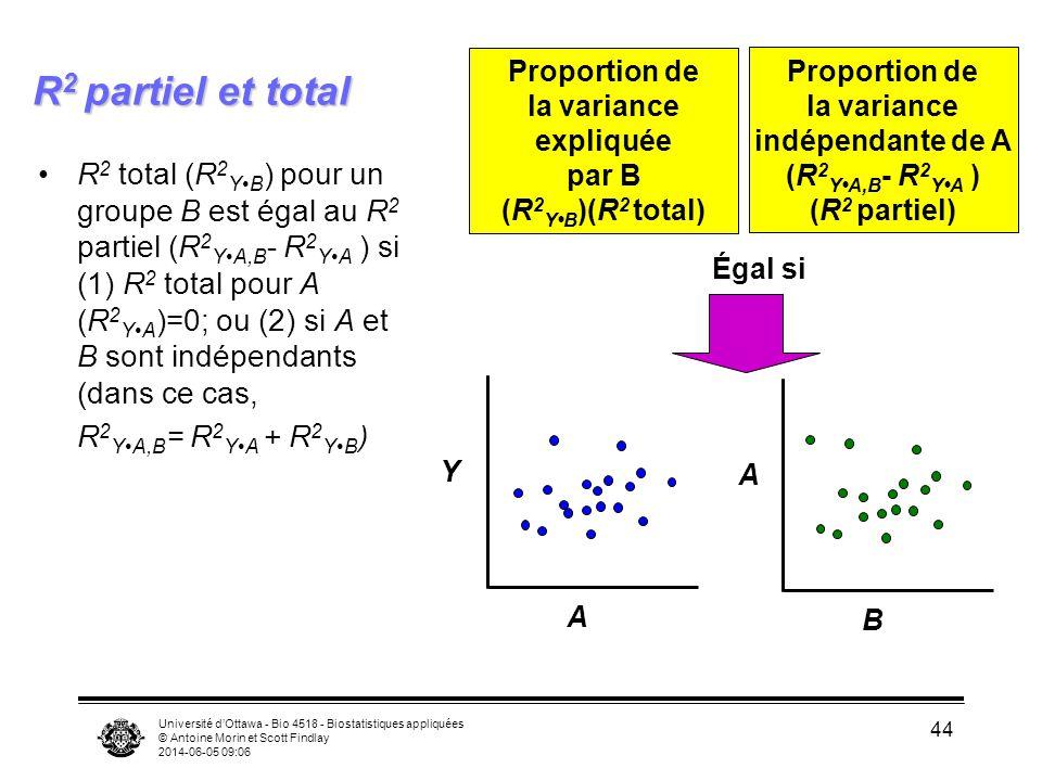 Université dOttawa - Bio 4518 - Biostatistiques appliquées © Antoine Morin et Scott Findlay 2014-06-05 09:08 44 R 2 partiel et total R 2 total (R 2 YB ) pour un groupe B est égal au R 2 partiel (R 2 YA,B - R 2 YA ) si (1) R 2 total pour A (R 2 YA )=0; ou (2) si A et B sont indépendants (dans ce cas, R 2 YA,B = R 2 YA + R 2 YB ) Proportion de la variance expliquée par B (R 2 YB )(R 2 total) Proportion de la variance indépendante de A (R 2 YA,B - R 2 YA ) (R 2 partiel) A Y B A Égal si