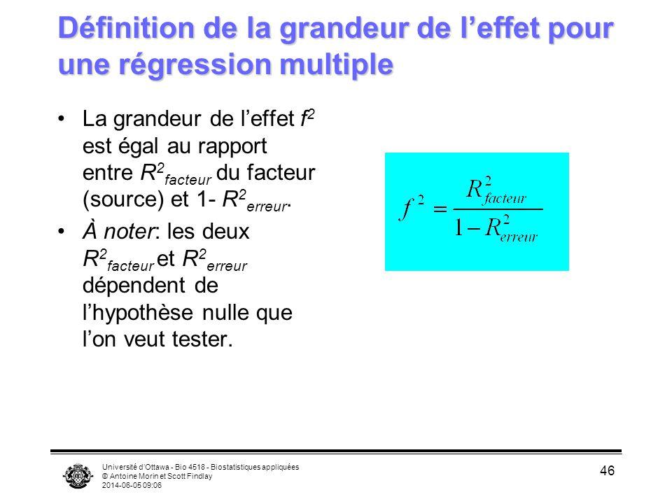 Université dOttawa - Bio 4518 - Biostatistiques appliquées © Antoine Morin et Scott Findlay 2014-06-05 09:08 46 Définition de la grandeur de leffet pour une régression multiple La grandeur de leffet f 2 est égal au rapport entre R 2 facteur du facteur (source) et 1- R 2 erreur.