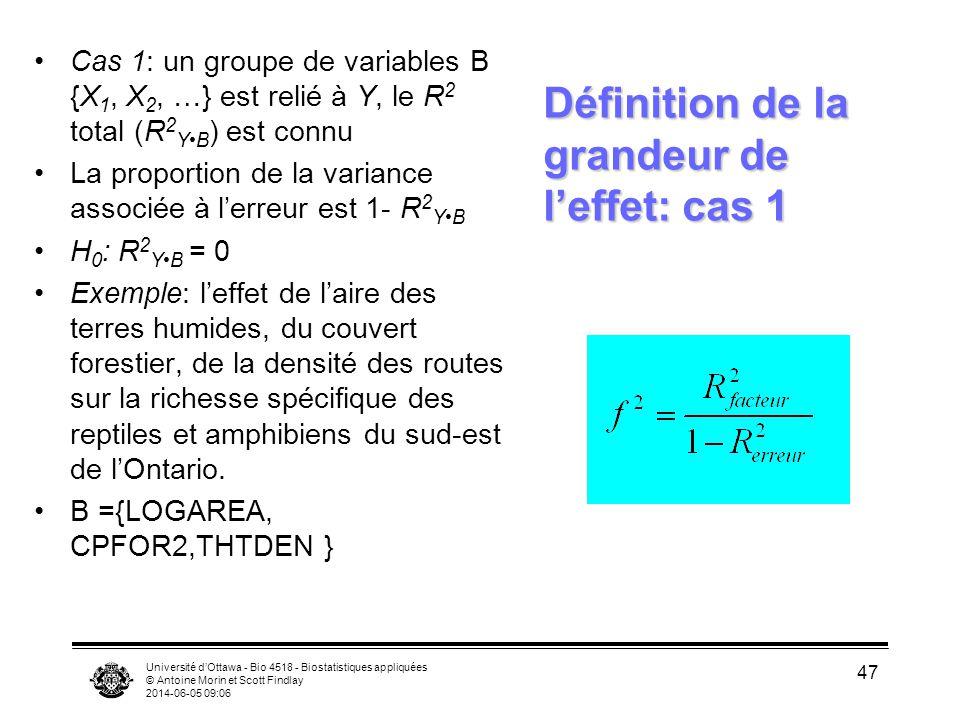 Université dOttawa - Bio 4518 - Biostatistiques appliquées © Antoine Morin et Scott Findlay 2014-06-05 09:08 47 Cas 1: un groupe de variables B {X 1, X 2, …} est relié à Y, le R 2 total (R 2 YB ) est connu La proportion de la variance associée à lerreur est 1- R 2 YB H 0 : R 2 YB = 0 Exemple: leffet de laire des terres humides, du couvert forestier, de la densité des routes sur la richesse spécifique des reptiles et amphibiens du sud-est de lOntario.