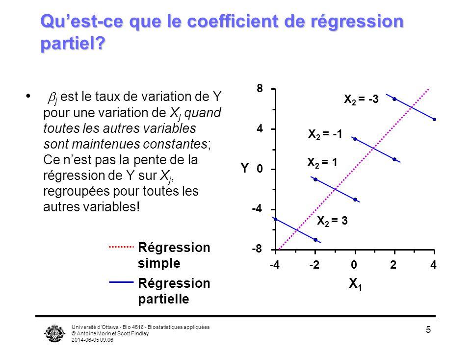 Université dOttawa - Bio 4518 - Biostatistiques appliquées © Antoine Morin et Scott Findlay 2014-06-05 09:08 5 Quest-ce que le coefficient de régression partiel.