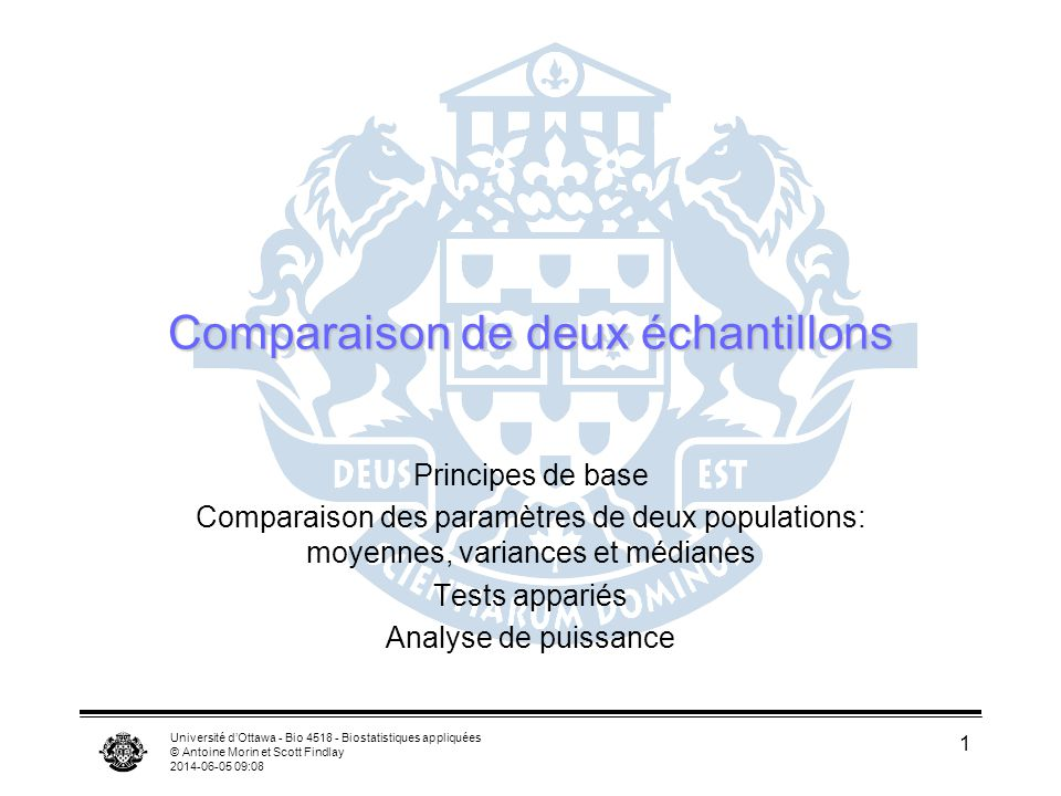 Université dOttawa - Bio 4518 - Biostatistiques appliquées © Antoine Morin et Scott Findlay 2014-06-05 09:09 1 Comparaison de deux échantillons Principes de base Comparaison des paramètres de deux populations: moyennes, variances et médianes Tests appariés Analyse de puissance