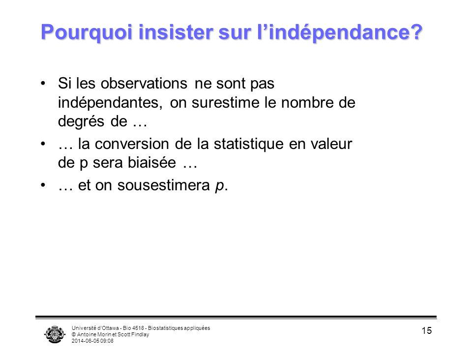 Université dOttawa - Bio 4518 - Biostatistiques appliquées © Antoine Morin et Scott Findlay 2014-06-05 09:09 15 Pourquoi insister sur lindépendance? S