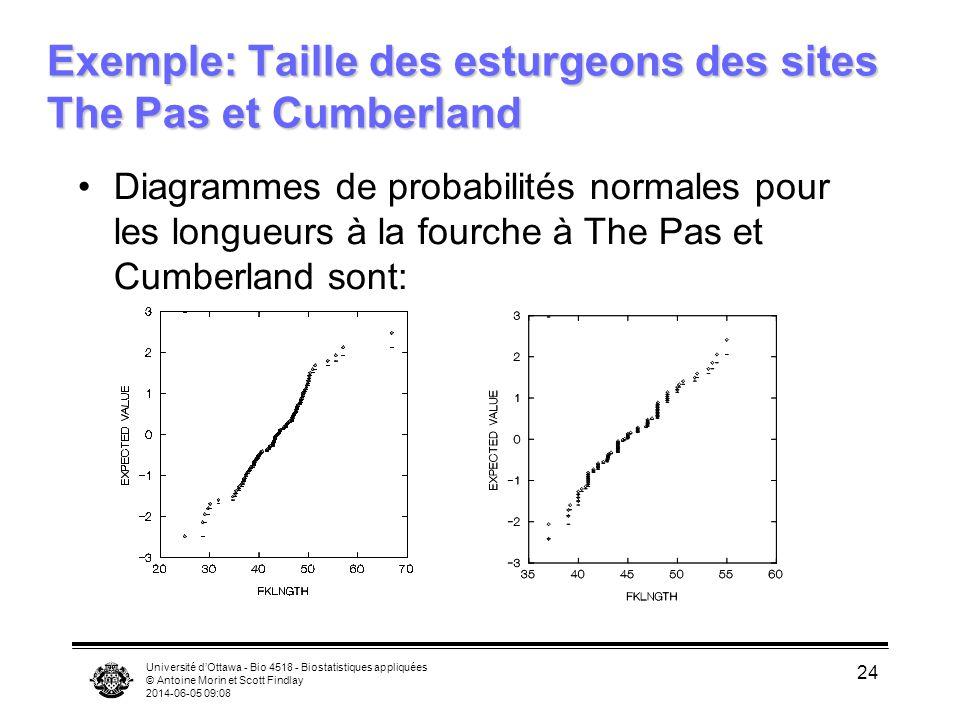 Université dOttawa - Bio 4518 - Biostatistiques appliquées © Antoine Morin et Scott Findlay 2014-06-05 09:09 24 Exemple: Taille des esturgeons des sit