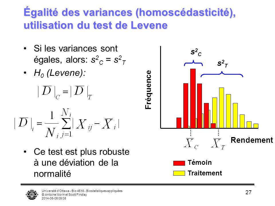 Université dOttawa - Bio 4518 - Biostatistiques appliquées © Antoine Morin et Scott Findlay 2014-06-05 09:09 27 Égalité des variances (homoscédasticité), utilisation du test de Levene Si les variances sont égales, alors: s 2 C = s 2 T H 0 (Levene): Ce test est plus robuste à une déviation de la normalité Rendement Fréquence Témoin Traitement s2Cs2C s2Ts2T