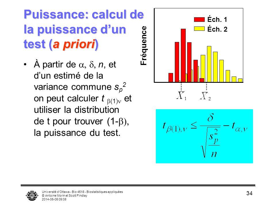 Université dOttawa - Bio 4518 - Biostatistiques appliquées © Antoine Morin et Scott Findlay 2014-06-05 09:09 34 Puissance: calcul de la puissance dun test (a priori) À partir de n, et dun estimé de la variance commune s p 2 on peut calculer t (1) et utiliser la distribution de t pour trouver (1- la puissance du test.