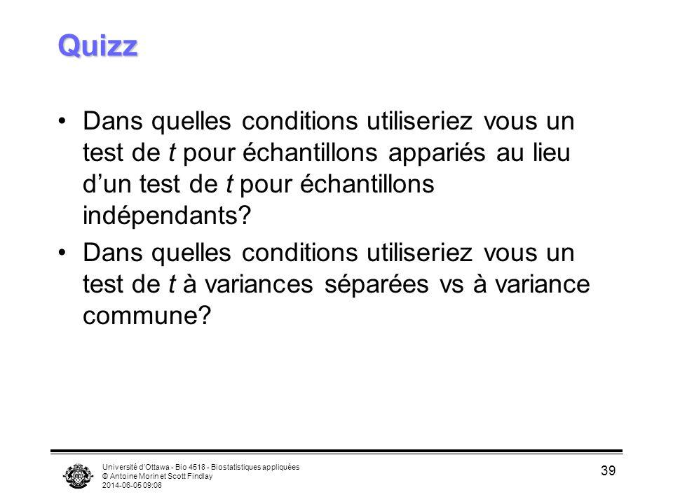 Université dOttawa - Bio 4518 - Biostatistiques appliquées © Antoine Morin et Scott Findlay 2014-06-05 09:09 39 Quizz Dans quelles conditions utiliser