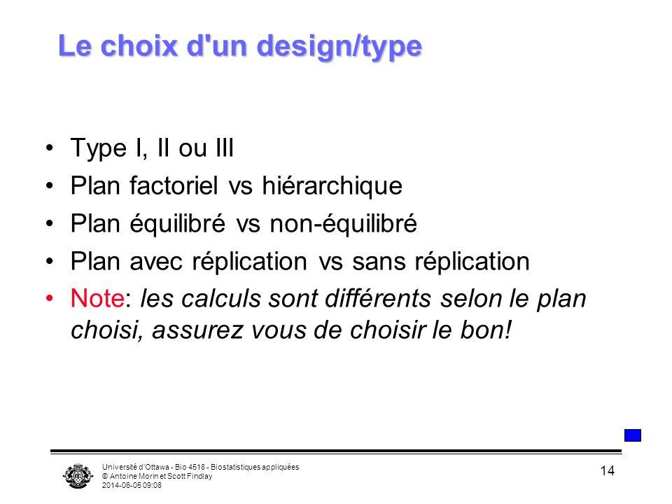 Université dOttawa - Bio 4518 - Biostatistiques appliquées © Antoine Morin et Scott Findlay 2014-06-05 09:10 14 Le choix d'un design/type Type I, II o