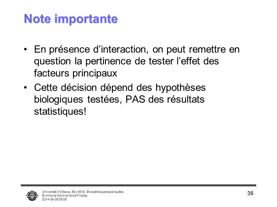 Université dOttawa - Bio 4518 - Biostatistiques appliquées © Antoine Morin et Scott Findlay 2014-06-05 09:10 36 Note importante En présence dinteracti
