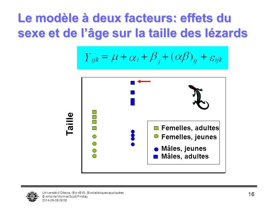 Université dOttawa - Bio 4518 - Biostatistiques appliquées © Antoine Morin et Scott Findlay 2014-06-05 09:10 16 Le modèle à deux facteurs: effets du s