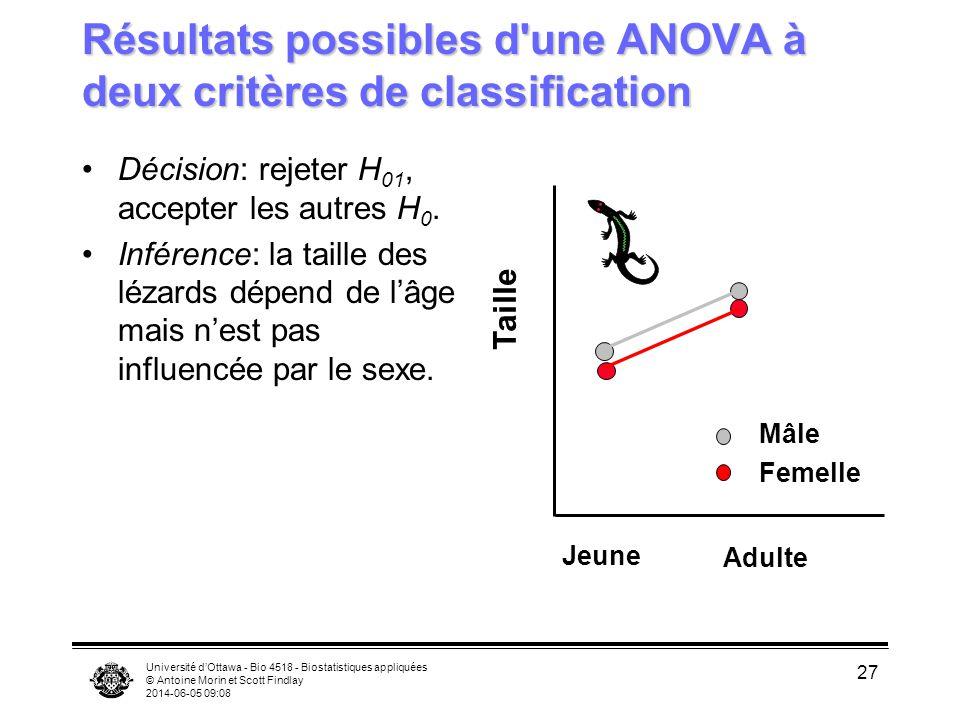 Université dOttawa - Bio 4518 - Biostatistiques appliquées © Antoine Morin et Scott Findlay 2014-06-05 09:10 27 Résultats possibles d'une ANOVA à deux