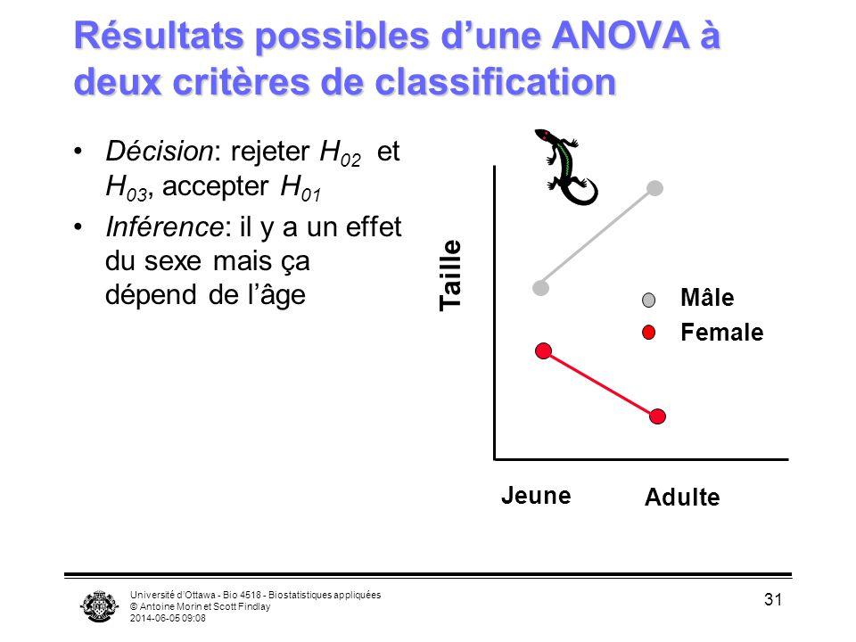 Université dOttawa - Bio 4518 - Biostatistiques appliquées © Antoine Morin et Scott Findlay 2014-06-05 09:10 31 Résultats possibles dune ANOVA à deux