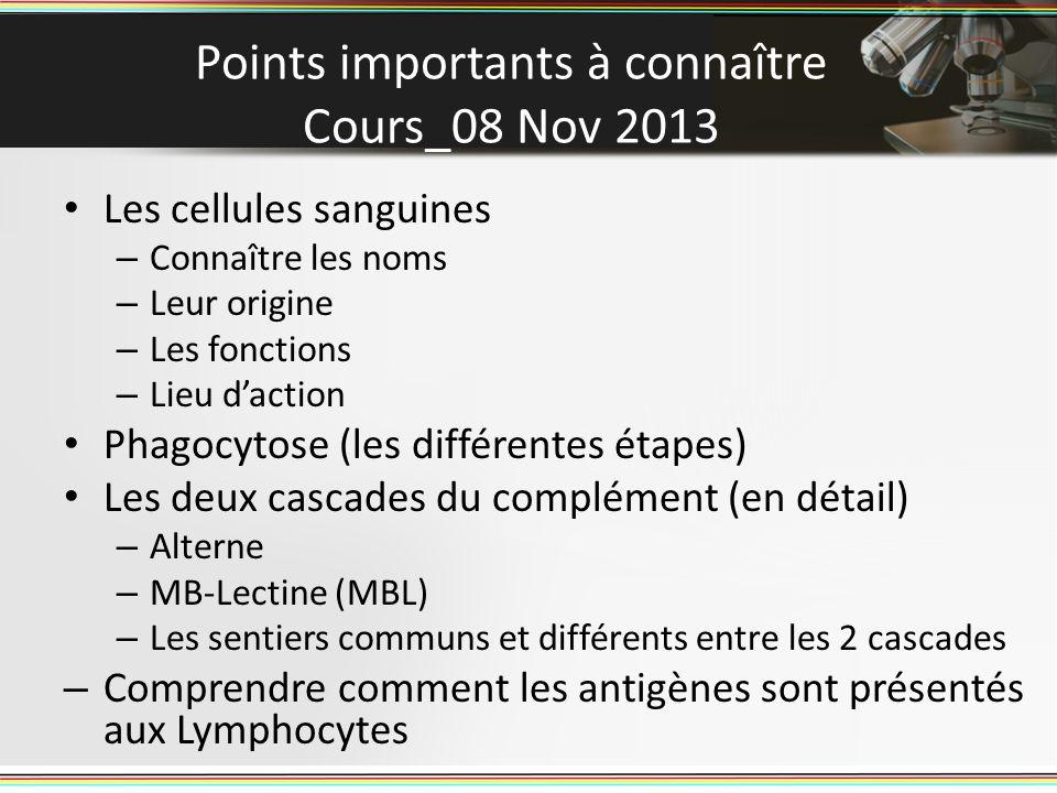 Points importants à connaître Cours_08 Nov 2013 Les cellules sanguines – Connaître les noms – Leur origine – Les fonctions – Lieu daction Phagocytose