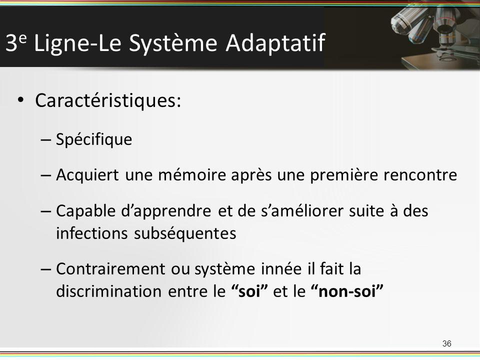 3 e Ligne-Le Système Adaptatif Caractéristiques: – Spécifique – Acquiert une mémoire après une première rencontre – Capable dapprendre et de saméliore