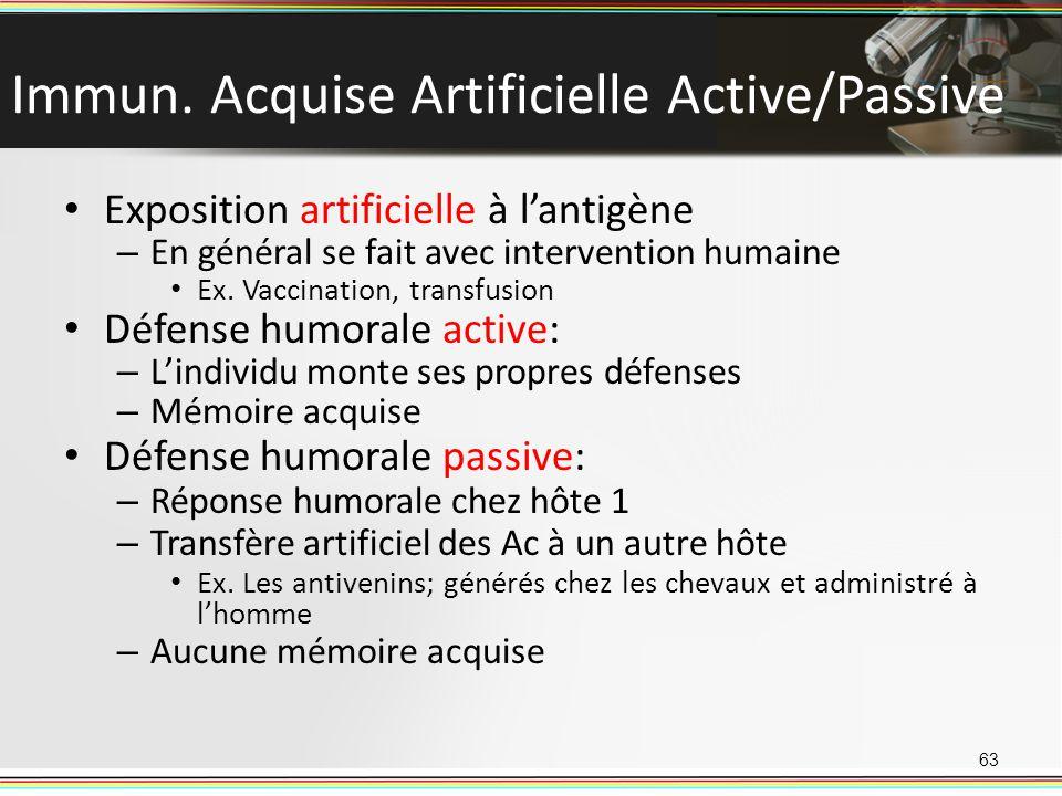 Immun. Acquise Artificielle Active/Passive Exposition artificielle à lantigène – En général se fait avec intervention humaine Ex. Vaccination, transfu
