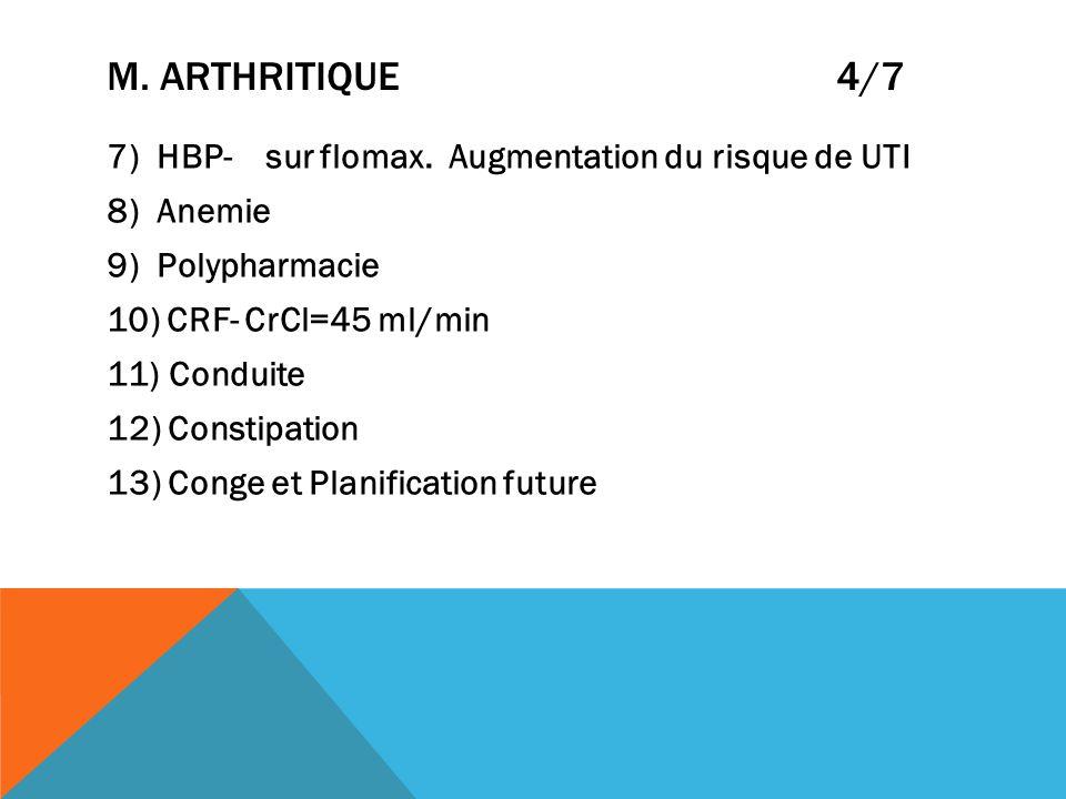 M. ARTHRITIQUE 4/7 7) HBP- sur flomax. Augmentation du risque de UTI 8) Anemie 9) Polypharmacie 10) CRF- CrCl=45 ml/min 11) Conduite 12) Constipation