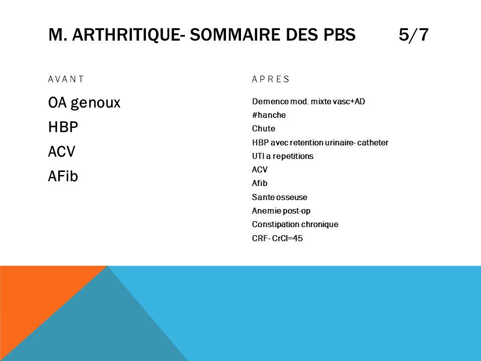 M. ARTHRITIQUE- SOMMAIRE DES PBS 5/7 AVANT OA genoux HBP ACV AFib APRES Demence mod. mixte vasc+AD #hanche Chute HBP avec retention urinaire- catheter