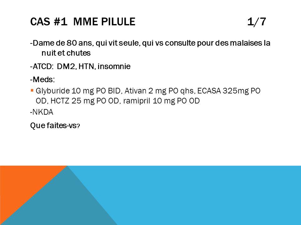 CAS #1 MME PILULE 1/7 -Dame de 80 ans, qui vit seule, qui vs consulte pour des malaises la nuit et chutes -ATCD: DM2, HTN, insomnie -Meds: Glyburide 1
