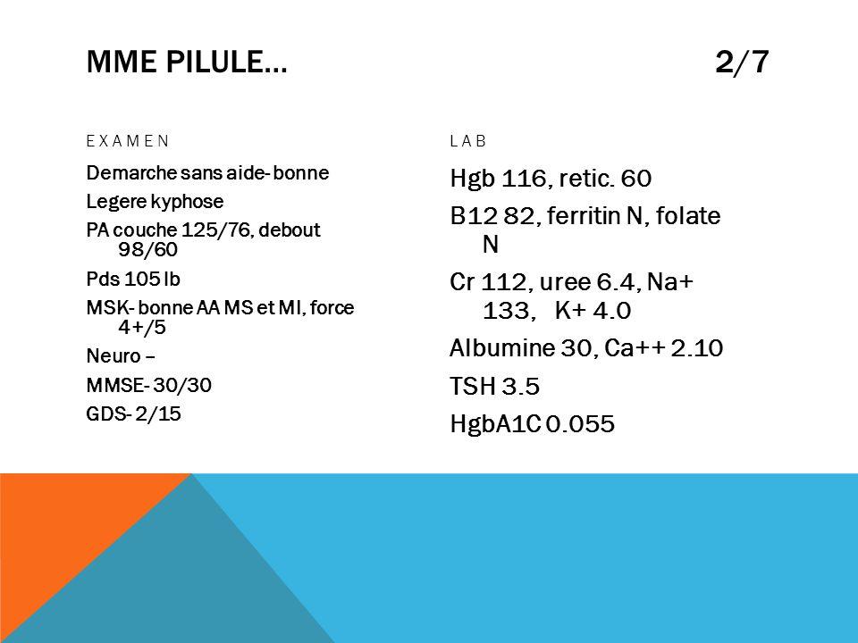MME PILULE… 2/7 EXAMEN Demarche sans aide- bonne Legere kyphose PA couche 125/76, debout 98/60 Pds 105 lb MSK- bonne AA MS et MI, force 4+/5 Neuro – M