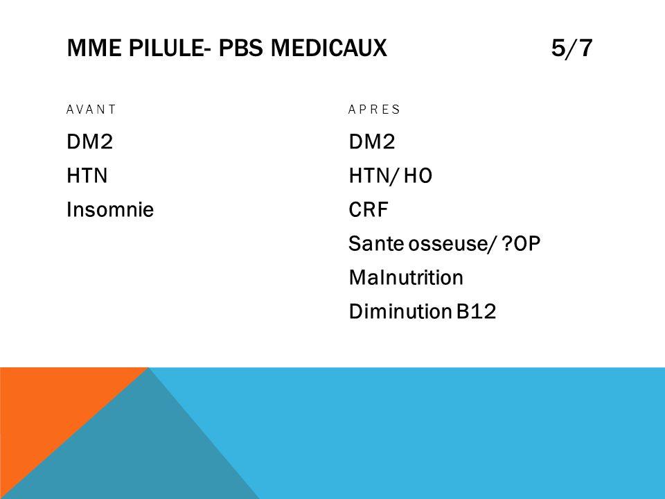 MME PILULE- PBS MEDICAUX 5/7 AVANT DM2 HTN Insomnie APRES DM2 HTN/ HO CRF Sante osseuse/ ?OP Malnutrition Diminution B12