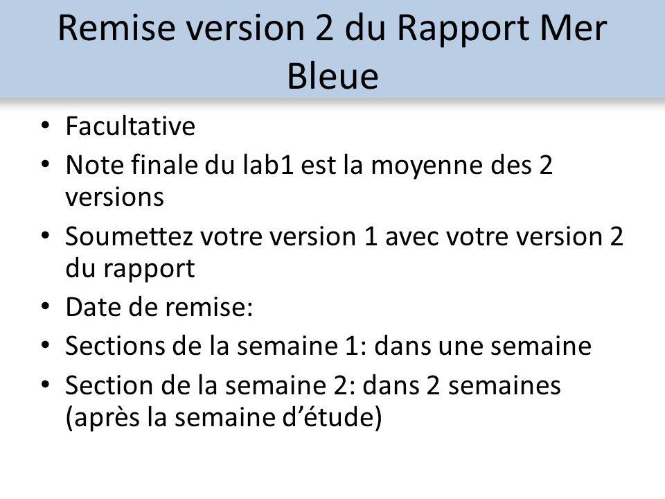 Remise version 2 du Rapport Mer Bleue Facultative Note finale du lab1 est la moyenne des 2 versions Soumettez votre version 1 avec votre version 2 du rapport Date de remise: Sections de la semaine 1: dans une semaine Section de la semaine 2: dans 2 semaines (après la semaine détude)