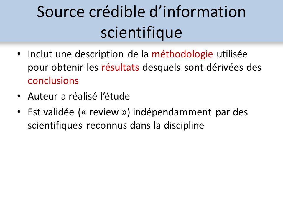 Source crédible dinformation scientifique Inclut une description de la méthodologie utilisée pour obtenir les résultats desquels sont dérivées des con