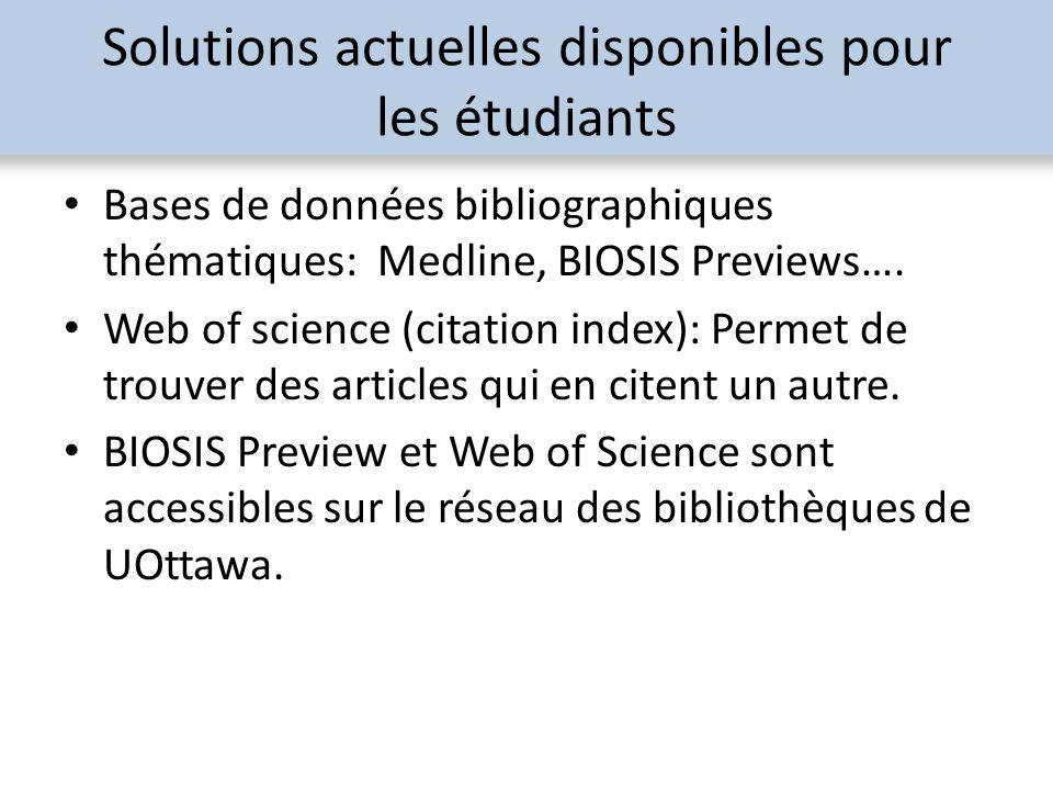 Solutions actuelles disponibles pour les étudiants Bases de données bibliographiques thématiques: Medline, BIOSIS Previews…. Web of science (citation