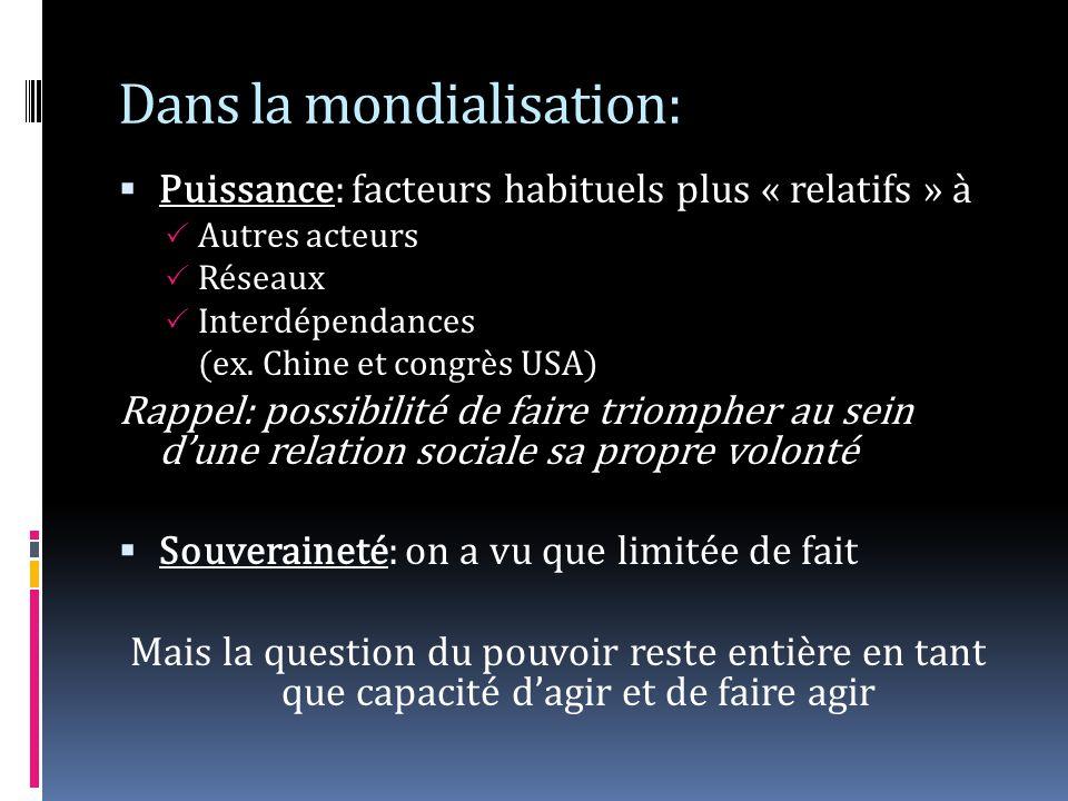 Dans la mondialisation: Puissance: facteurs habituels plus « relatifs » à Autres acteurs Réseaux Interdépendances (ex.
