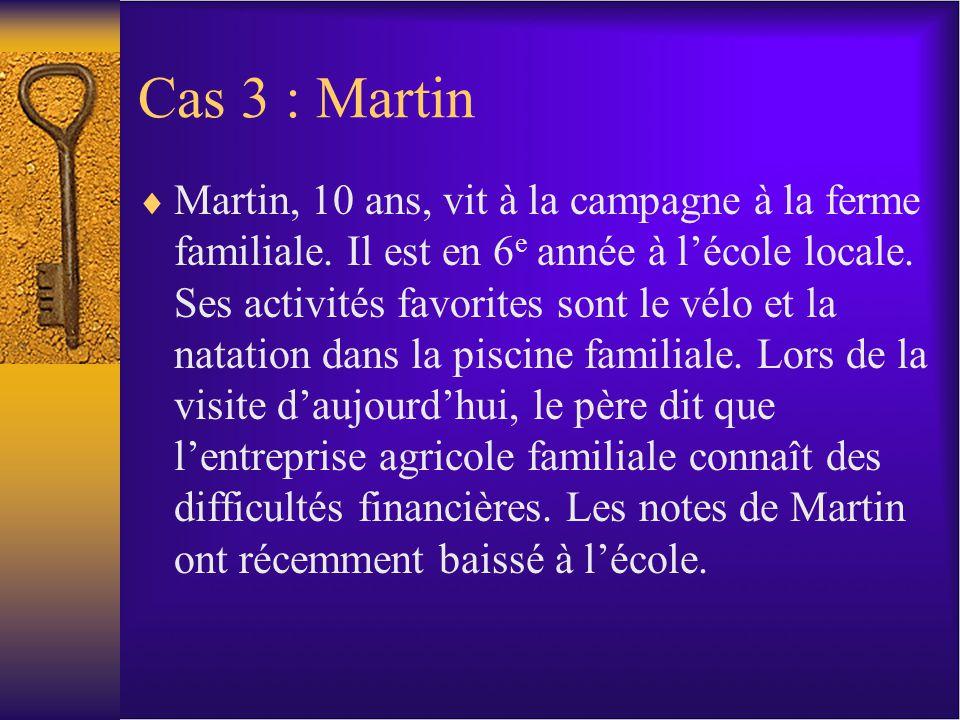 Cas 3 : Martin Martin, 10 ans, vit à la campagne à la ferme familiale.