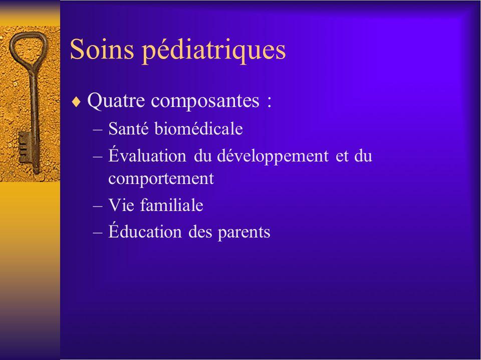 Soins pédiatriques Quatre composantes : –Santé biomédicale –Évaluation du développement et du comportement –Vie familiale –Éducation des parents