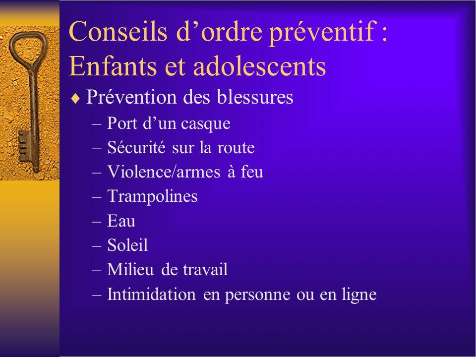 Conseils dordre préventif : Enfants et adolescents Prévention des blessures –Port dun casque –Sécurité sur la route –Violence/armes à feu –Trampolines –Eau –Soleil –Milieu de travail –Intimidation en personne ou en ligne