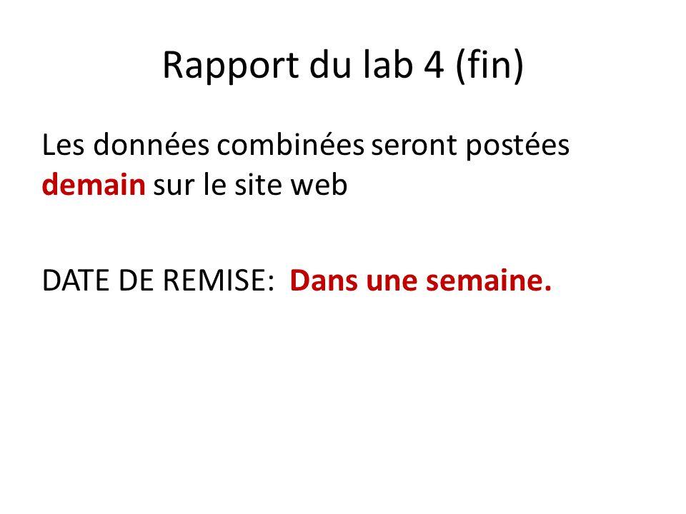 Rapport du lab 4 (fin) Les données combinées seront postées demain sur le site web DATE DE REMISE: Dans une semaine.