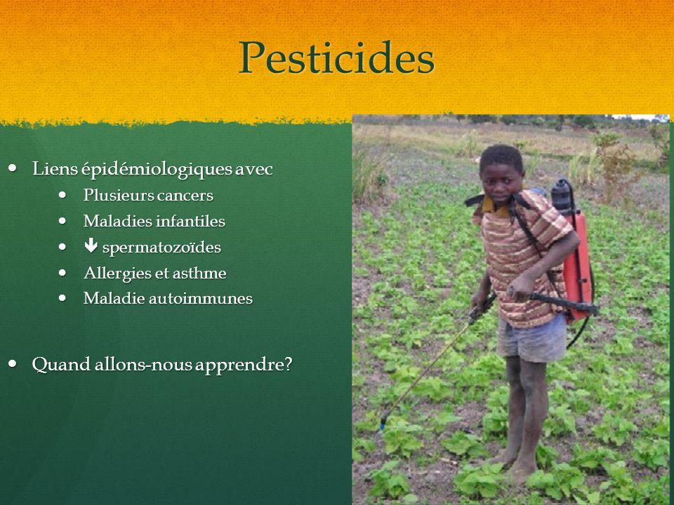 Pesticides Liens épidémiologiques avec Liens épidémiologiques avec Plusieurs cancers Plusieurs cancers Maladies infantiles Maladies infantiles spermat