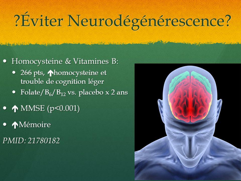?Éviter Neurodégénérescence? Homocysteine & Vitamines B: Homocysteine & Vitamines B: 266 pts, homocysteine et trouble de cognition léger 266 pts, homo