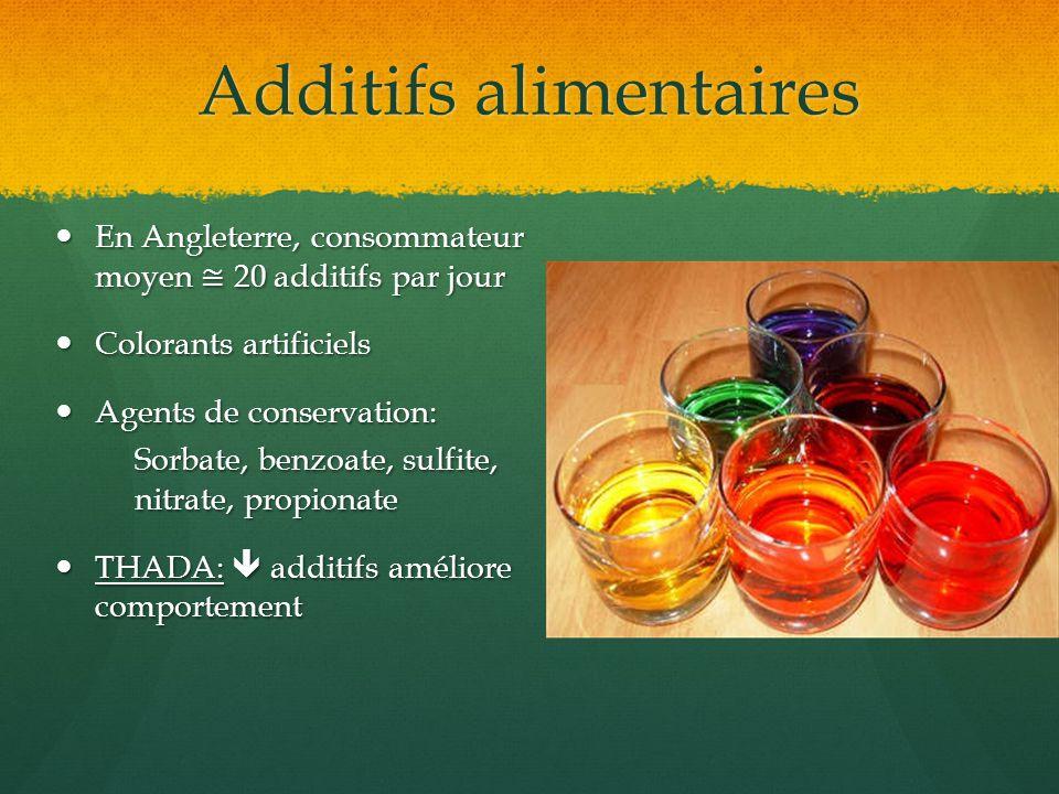 Additifs alimentaires En Angleterre, consommateur moyen 20 additifs par jour En Angleterre, consommateur moyen 20 additifs par jour Colorants artifici
