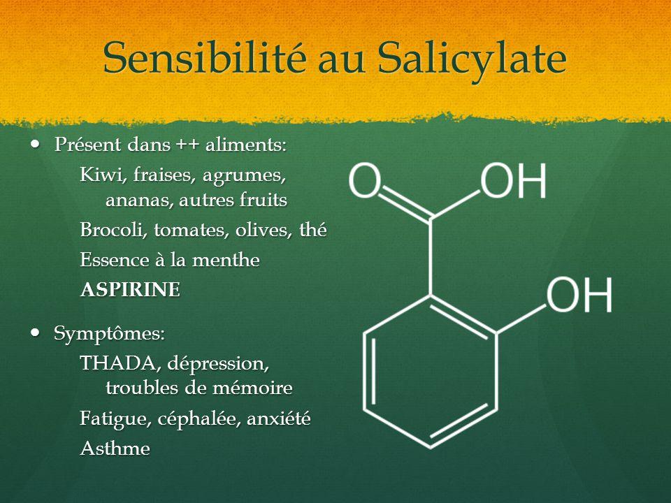 Sensibilité au Salicylate Présent dans ++ aliments: Présent dans ++ aliments: Kiwi, fraises, agrumes, ananas, autres fruits Brocoli, tomates, olives,