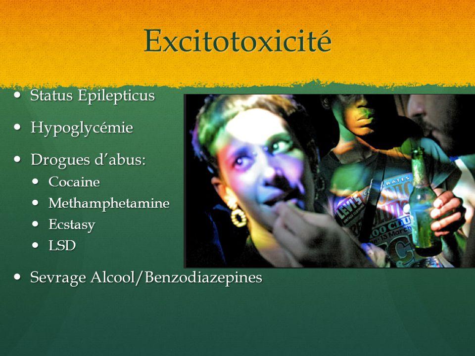 Excitotoxicité Status Epilepticus Status Epilepticus Hypoglycémie Hypoglycémie Drogues dabus: Drogues dabus: Cocaine Cocaine Methamphetamine Methamphe