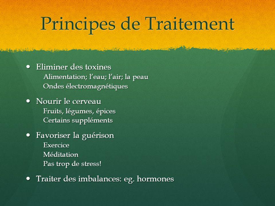 Principes de Traitement Eliminer des toxines Eliminer des toxines Alimentation; leau; lair; la peau Ondes électromagnétiques Nourir le cerveau Nourir
