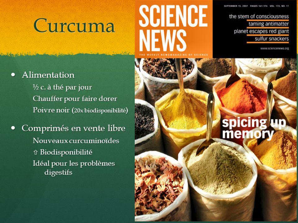 Curcuma Alimentation Alimentation ½ c. à thé par jour Chauffer pour faire dorer Poivre noir ( 20x biodisponibilité ) Comprimés en vente libre Comprimé