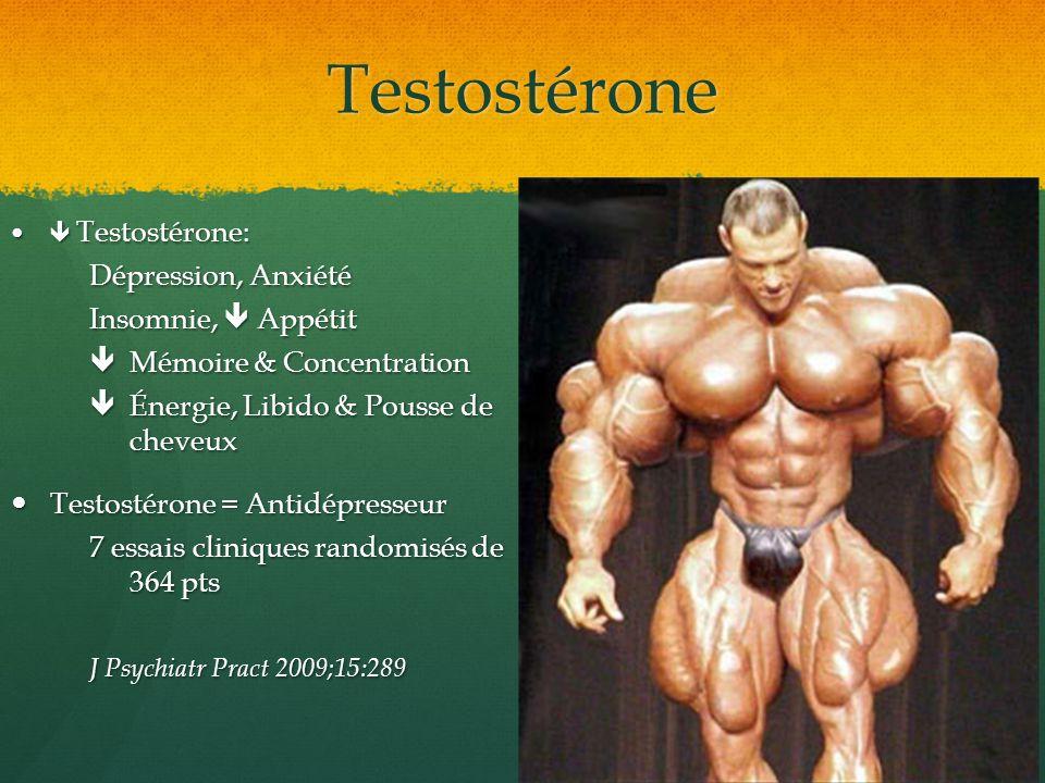 Testostérone Testostérone: Testostérone: Dépression, Anxiété Insomnie, Appétit Mémoire & Concentration Mémoire & Concentration Énergie, Libido & Pouss
