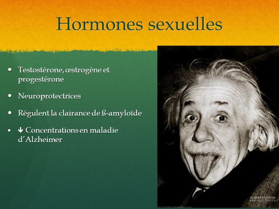 Hormones sexuelles Testostérone, œstrogène et progestérone Testostérone, œstrogène et progestérone Neuroprotectrices Neuroprotectrices Régulent la cla